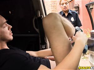 Police officer Mercedes Carrera lets Markus off as she is crazy today