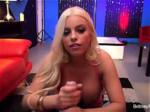 big-boobed Britney gives a striptease then gets drilled firm