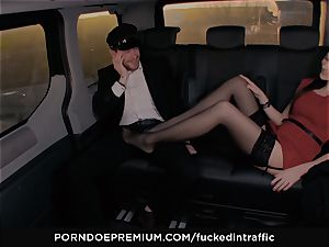 screwed IN TRAFFIC - Footjob and car intercourse with Tina Kay