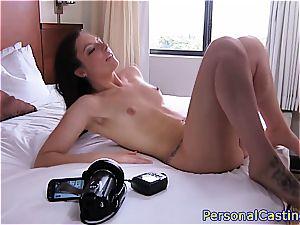 ultra-cute brunette lets him jism on her donk
