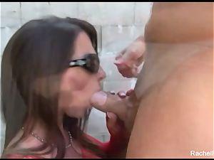huge-titted black-haired Rachel Roxxx gets a facial cumshot