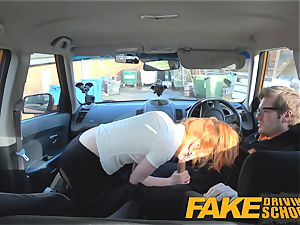 fake Driving school lovely red-haired Ella Hughes screws