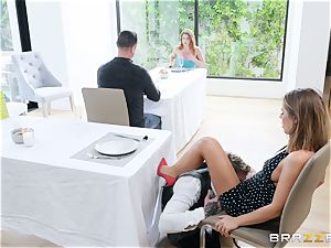 Adriana Chechik gets her gash filled up with meaty manhood in restaurant