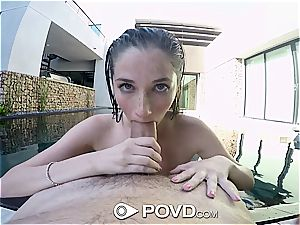young honey with huge cunny lips receives pov facial cumshot