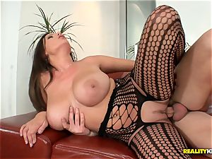 immense boobied sensual Jane romps in fishnet
