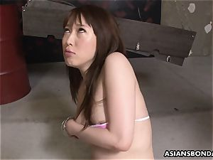 asian redhead gasps and spits on the stiff boner