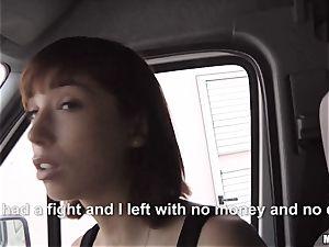 Tina super hot deep-throats a strangers lollipop in his car