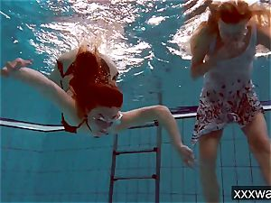 warm Russian nymphs swimming in the pool