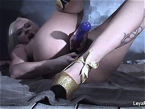 Leya Falcon tucks intercourse playthings in both her fuckholes