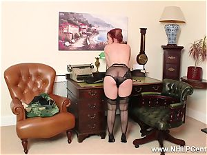 ginger-haired is vintage nylon fetish tart at wank Off Club