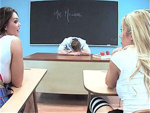 2 ultra-kinky schoolgirls have joy with their professor