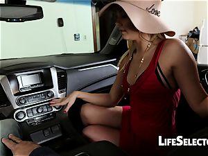 gassy milf Aaliyah enjoy gives a fellatio in your car