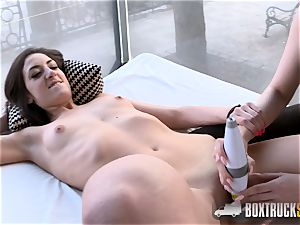 molten Angel Wicky uses 2 magic wands on Miky love in Public