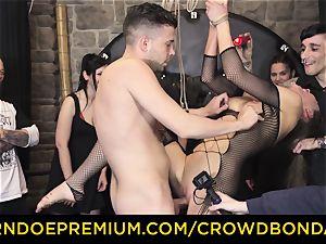 CROWD bondage - extreme bdsm smash wheel with Tina Kay