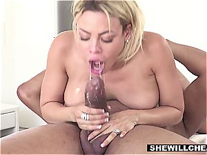 huge-titted Latina wife cheats with the talented dark-hued masseur