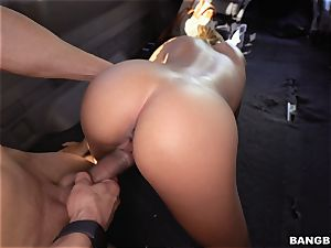 wild platinum-blonde Selena Sosa juggling on top
