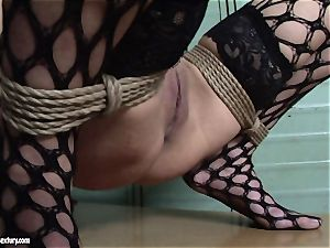 Mandy Bright trussed a super-steamy girl in net tights