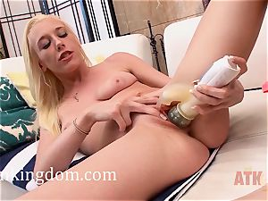 youthful ash-blonde Roxy Nicole using a plaything to get off