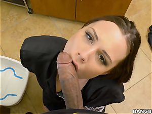 large dark-hued man rod tucking into Aidra Fox