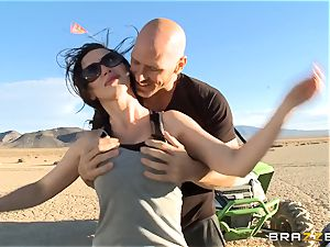 Nikki Benz railing on Johnny Sins gigantic jizz-shotgun