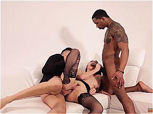 Valentina Nappi gets DPd by a ebony and a milky boy
