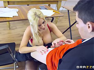 youthful dude in college uniforms humps his huge-titted professor Michelle Thorne