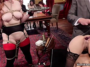 dark-hued and red-haired ass-fuck pulverized in group