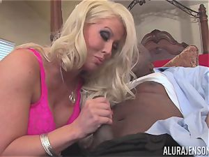 Alura Jenson gets her pretty mouth crammed with firm ebony pipe