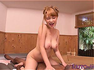 buxom asian massagist pounds a black client
