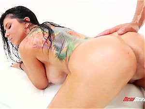 wild passionate mexican pornography starlet Romi Rain gets her enormous greased bra-stuffers titfucked