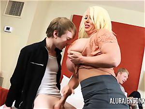 hotwife threesome with phat funbag pornographic star Alura Jenson