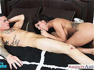buxomy black-haired Peta Jensen blow and shag a ample stiffy