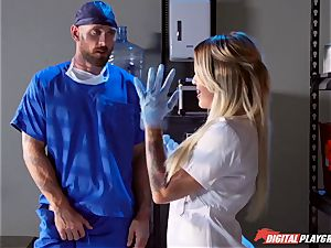 experienced doctor porks slutty huge-chested nurse Kissa Sins on a polyclinic couch