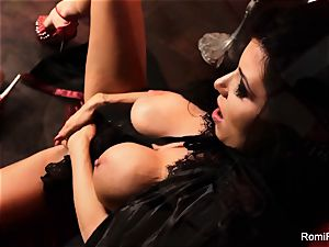 Romi the big-boobed vampire has a super hot solo session