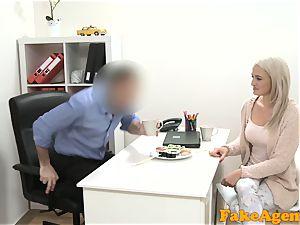 faux Agent super hot ash-blonde model enjoys spunk-pump over the desk
