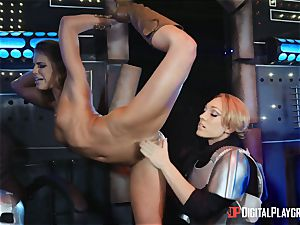 cunny luving lesbians Adriana Chechik and Lily Labeau drizzle on board