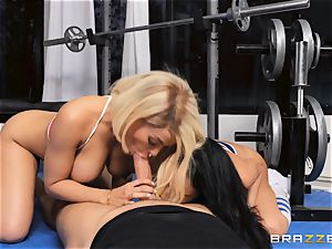 Luna starlet and Victoria June pummel nut deep in the gym