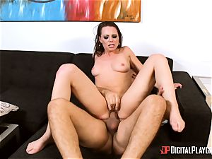 brunette Aidra Fox takes it deep in her taut muff