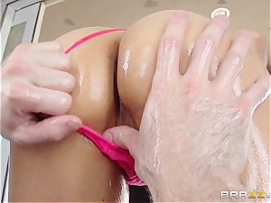 Sarah Vandella endures an oily ass fucking penetrating
