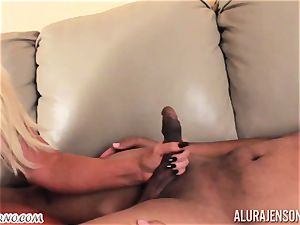 huge-chested 40-year-old female Alura Jenson likes dark-hued studs