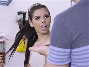 steamy honey mechanic Gina Valentina gets banged in the garage