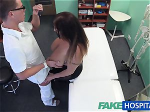FakeHospital babe wants jism all over her yam-sized hefty tits
