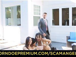 SCAM ANGELS - hot Melissa Moore boned in super-naughty fourway