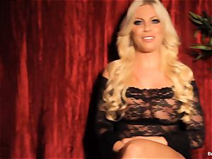 Britney Amber gives an interview and strokes
