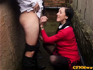 female dom Chantelle Fox and acquaintance fellatio act