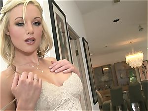 Kayden Kross uses caressing her figure and draining to gain some affection