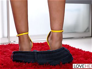 LoveHerFeet - humungous baps Bridgette Gives a professional FootJob