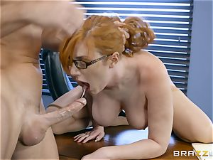shaft thirsty Lauren Phillips plumbed in her ginger cootchie