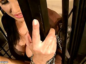 Mandy Bright fettered a sizzling honey at the jail steel