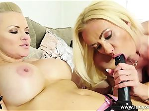 insatiable blondie rides ginormous strap-on then gets fucked by magic wand